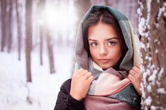 Beautiful brunette stands in a winter forest. Beautiful brunette in a black jacket standing in a winter forest Royalty Free Stock Image