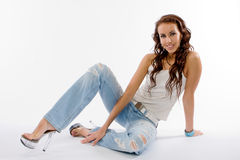 The beautiful brunette in studio Royalty Free Stock Images