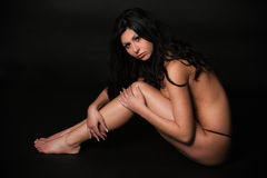 Beautiful brunette in the studio Royalty Free Stock Image