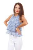 Beautiful  brunette  stylish woman isolated on white backg Stock Photography