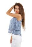 Beautiful  brunette  stylish woman isolated on white backg Stock Photo