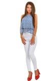 Beautiful  brunette  stylish woman isolated on white backg Royalty Free Stock Image