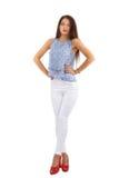 Beautiful  brunette  stylish woman isolated on white backg Stock Photos