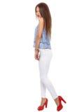 Beautiful  brunette  stylish woman isolated on white backg Stock Image