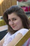 Beautiful brunette at summer beach Stock Photos
