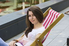 Beautiful brunette at summer beach Royalty Free Stock Photography