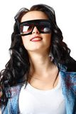 Beautiful brunette in sunglasses Stock Photos