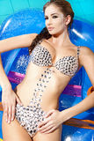 Beautiful brunette in swimmingpool Stock Photos