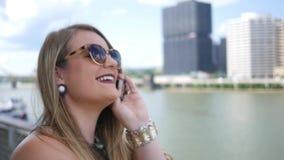 Smiling Flirty Woman Talking On Phone  Stock Video - Video