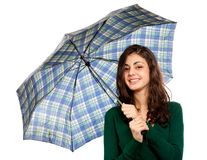 Beautiful brunette with umbrella. Portrait of a beautiful brunette with umbrella, isolated on white background Stock Image