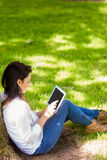 Beautiful brunette using tablet pc in the park Royalty Free Stock Photography