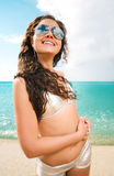 Beautiful brunette on vacation Royalty Free Stock Photography