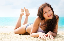 Beautiful brunette on vacation Royalty Free Stock Images