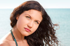 Beautiful brunette on vacation Stock Photo
