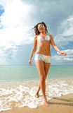 Beautiful brunette on vacation Stock Photos