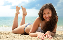 Beautiful brunette on vacation Stock Photos