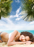 Beautiful brunette on vacation Royalty Free Stock Photos