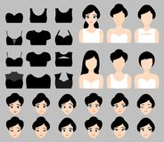 Beautiful Brunette Vector Girl Constructor Set With Clothes, Hairstyles And Facial Expressions Royalty Free Stock Photo