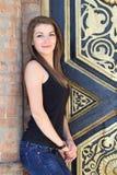 Beautiful brunette walking in the city Stock Photo