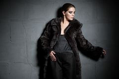 Beautiful brunette in fur coat in the dark Royalty Free Stock Images