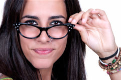 Beautiful brunette wearing glasses Stock Photography