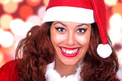 Beautiful brunette wearing santa claus Royalty Free Stock Photos