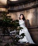 Beautiful brunette in wedding dress Stock Photo