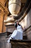 Beautiful brunette in wedding dress Royalty Free Stock Photo