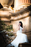 Beautiful brunette in wedding dress Stock Photography