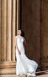 Beautiful brunette in wedding dress Stock Images