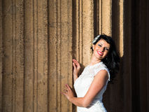 Beautiful brunette in wedding dress Royalty Free Stock Photos