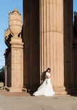 Beautiful brunette in wedding dress Royalty Free Stock Photography