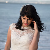 Beautiful brunette in wedding dress Royalty Free Stock Images