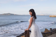 Beautiful brunette in wedding dress Stock Image