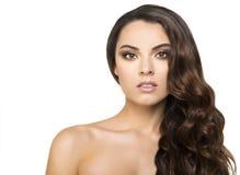 Beautiful brunette on white background Stock Photo