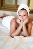Beautiful brunette in white towel Stock Photography