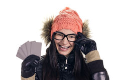 Stylish girl with credit card Stock Photography