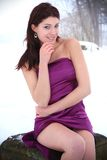 Beautiful brunette in a winter nature. Beautiful brunette in a purple evening dress posing in a winter nature, fashion photography Royalty Free Stock Image