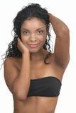 Beautiful brunette woman. On white background Stock Photos
