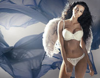 Beautiful brunette woman as an angel Stock Image