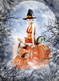 Beautiful brunette woman as halloween witch. Sitting on pumpkin royalty free illustration