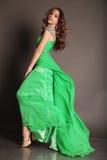 Beautiful brunette woman with bijou, wears luxurious  dress Royalty Free Stock Image