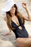 Beautiful brunette woman in bikini Royalty Free Stock Image