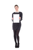Beautiful brunette woman in black dress with clipboard isolated Royalty Free Stock Photos