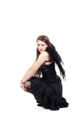 Beautiful brunette woman with black wings Stock Photography