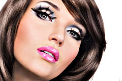 Beautiful brunette woman with bright fashion make-up Stock Image
