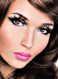Beautiful brunette woman with bright fashion make-up Royalty Free Stock Images