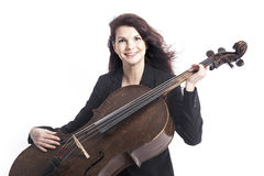 Beautiful brunette woman with cello in studio against white back Royalty Free Stock Photos