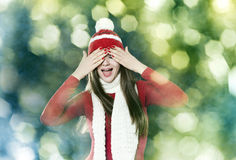 Beautiful brunette woman - christmas portrait royalty free stock images