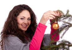 Beautiful brunette woman christmas time Royalty Free Stock Photo